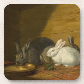 Rabbits Eating Art Coasters