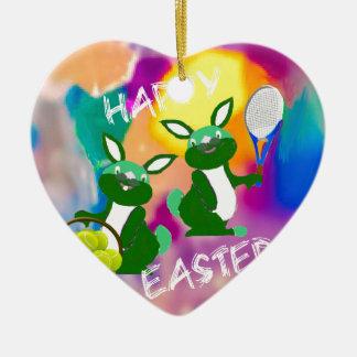 Rabbits enjoy with tennis balls in Easter season Ceramic Ornament