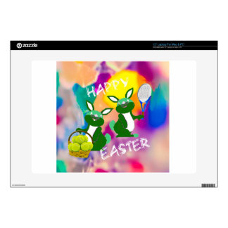 """Rabbits enjoy with tennis balls in Easter season Decals For 15"""" Laptops"""