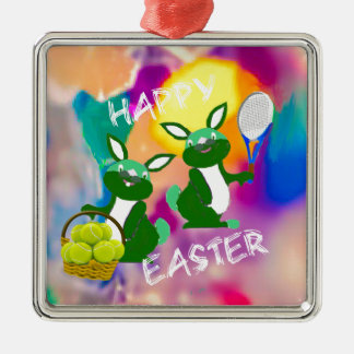 Rabbits enjoy with tennis balls in Easter season Metal Ornament