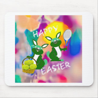 Rabbits enjoy with tennis balls in Easter season Mouse Pad