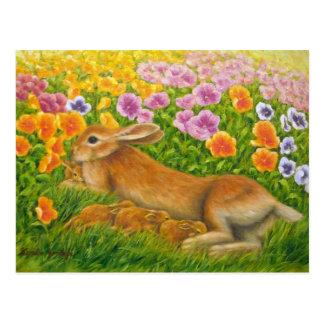 """Rabbits Family"" postcard"