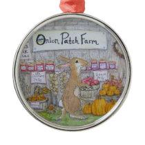 Rabbit's Farm Stand Metal Ornament