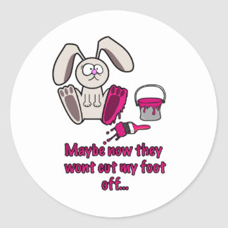 Rabbits Foot Funny Cartoon Round Stickers
