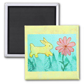 Rabbit's Garden 2 Inch Square Magnet