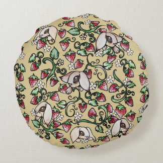 Rabbits in a Strawberry Patch Round Pillow