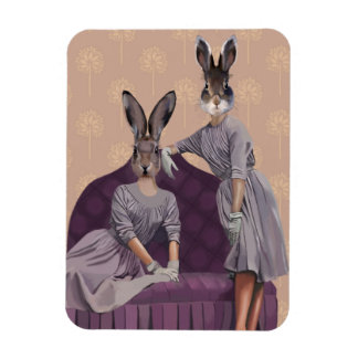 Rabbits in Purple Magnet