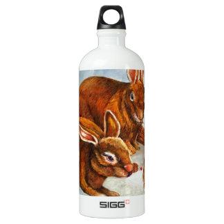 Rabbits in Snow Aluminum Water Bottle