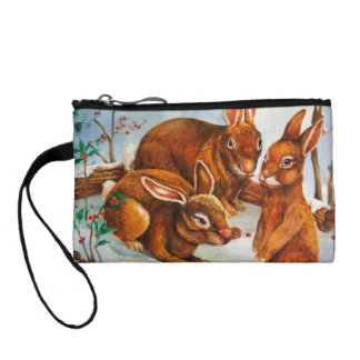 Rabbits in Snow Change Purse