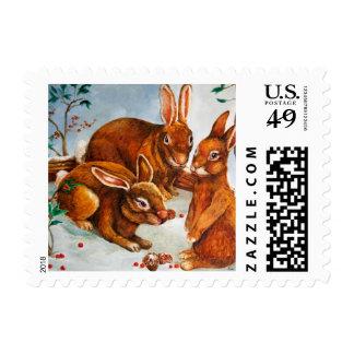 Rabbits in Snow Postage