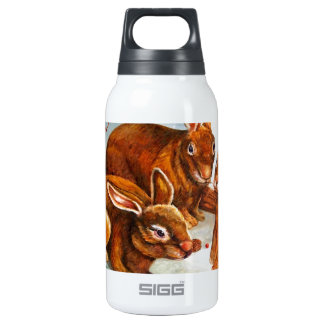 Rabbits in Snow Thermos Water Bottle
