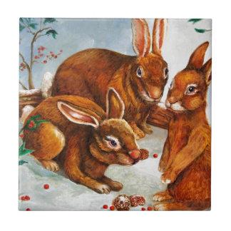 Rabbits in Snow Tile