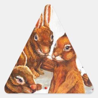Rabbits in Snow Triangle Sticker