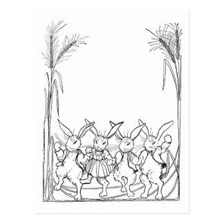 Rabbits in Tall Grass Postcard