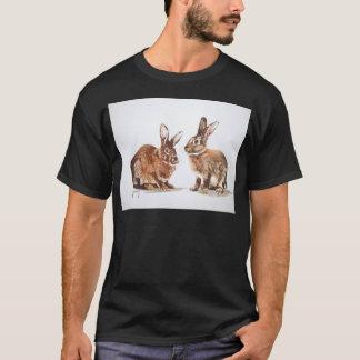 Rabbits in Watercolour Black Tee Shirt Mens