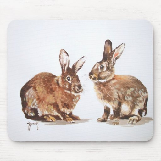 Rabbits in Watercolour Mouse Pad