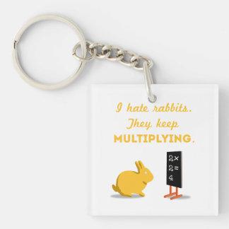 Rabbits Keep Multiplying Single-Sided Square Acrylic Keychain