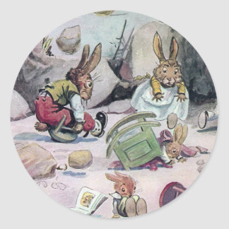 Rabbits Left Homeless in Calamity Classic Round Sticker