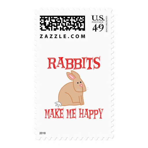 Rabbits Make Me Happy Postage Stamps