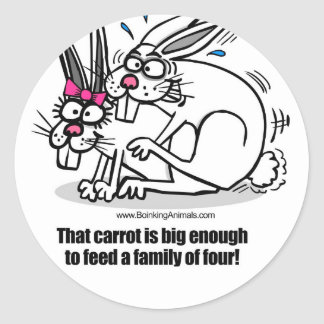 rabbits mating, rabbits boinking classic round sticker
