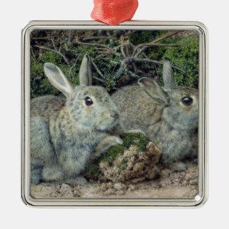 Rabbits Metal Ornament
