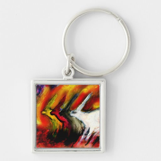 Rabbits of the Apocalypse Silver-Colored Square Keychain