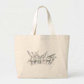 Rabbits Peering Over Fence Tote Bags