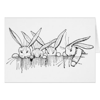 Rabbits Peering Over Fence Card