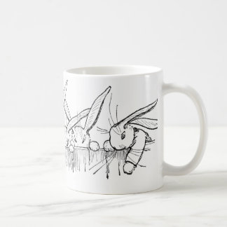 Rabbits Peering Over Fence Coffee Mug