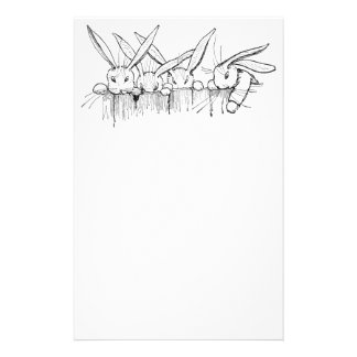 Rabbits Peering Over Fence Stationery