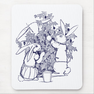 Rabbits Picking Blackberries Mouse Pad