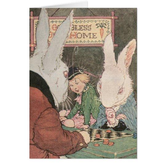 Rabbits Playing Checkers Card