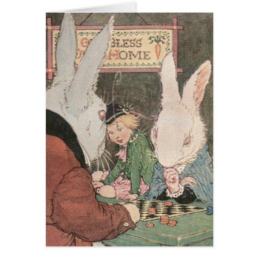 Rabbits Playing Checkers Greeting Card