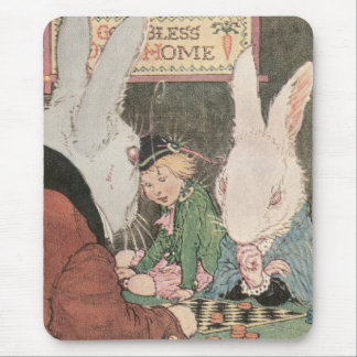 Rabbits Playing Checkers Mouse Pad