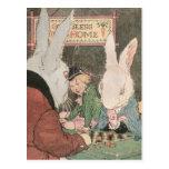 Rabbits Playing Checkers Postcard