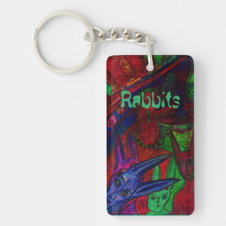 """""""Rabbits"""" Rectangle (double-sided) Keychain"""