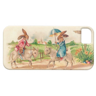 Rabbits Riding Sheep - Cute Vintage Easter Image iPhone 5 Cover