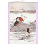Rabbits Riding Whale Meet Mermaid Greeting Cards