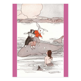Rabbits Riding Whale Meet Mermaid Postcard