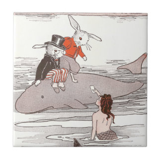 Rabbits Riding Whale Meet Mermaid Small Square Tile