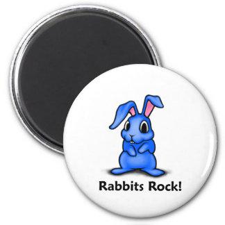 Rabbits Rock! 2 Inch Round Magnet
