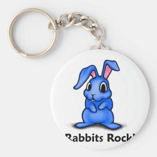 Rabbits Rock! Basic Round Button Keychain