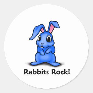 Rabbits Rock! Classic Round Sticker
