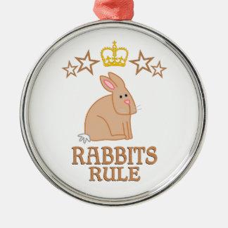 Rabbits Rule Metal Ornament
