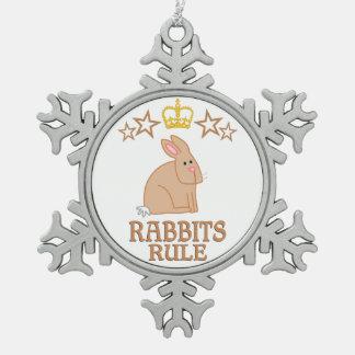 Rabbits Rule Snowflake Pewter Christmas Ornament