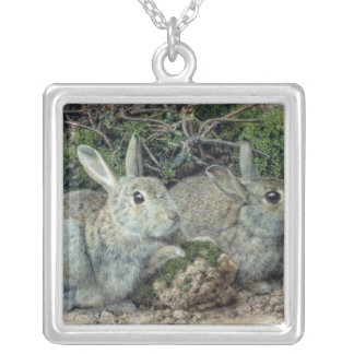 Rabbits Square Pendant Necklace