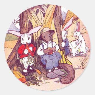 Rabbits & Squirrels Have Lunch Round Sticker