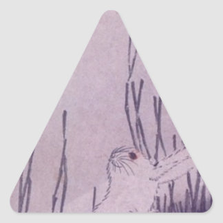 Rabbits Under Moon by Hiroshige Triangle Sticker
