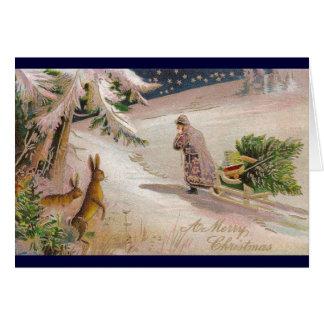 Rabbits Watch Santa in Purple Coat Pull Sled Card