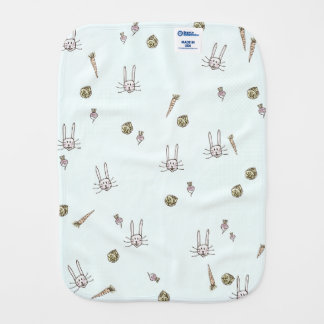 Rabbits with Carrots Cabbage Turnips on Baby Blue Burp Cloth